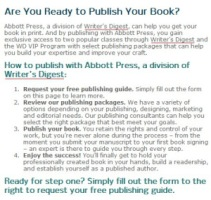 Cached version of Abbott Press showing Writer's Digest links.